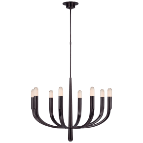Verso Large Chandelier in Bronze with Clear Glass