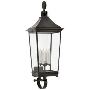 Rosedale Classic Large Tall Bracketed Wall Lantern in French Rust with Clear Glass