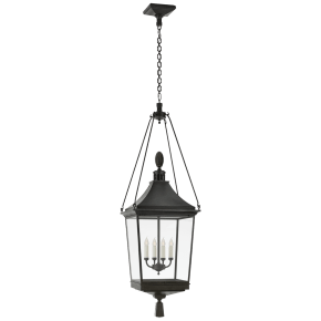 Rosedale Classic Large Hanging Lantern in French Rust with Clear Glass