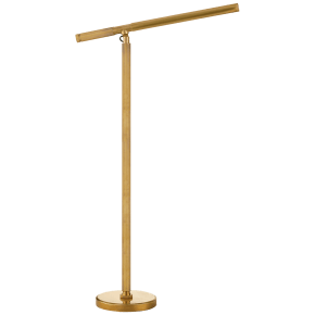 Barrett Knurled Boom Arm Floor Light in Natural Brass