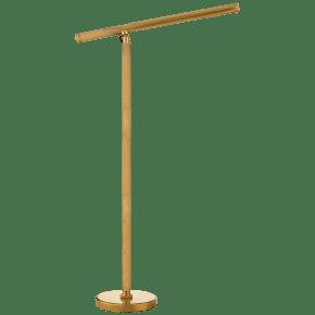 Barrett Knurled Boom Arm Floor Light in Natural Brass