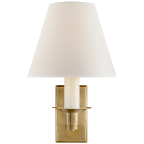 Evans Library Sconce in Natural Brass with Percale Shade