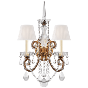 Adrianna Double Sconce in Gilded Iron and Crystal with Silk Shades