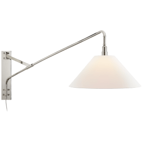 Brompton Large Extension Swing Arm Sconce in Polished Nickel with Linen Shade