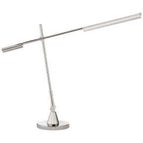 Daley Adjustable Desk Lamp in Polished Nickel with Clear Acrylic