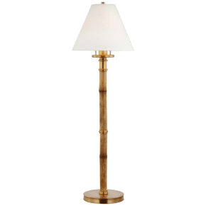 Dalfern Desk Lamp in Waxed Bamboo and Natural Brass with White Parchment Shade