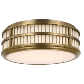 "Perren 18"" Flush Mount in Natural Brass and Glass Rods"