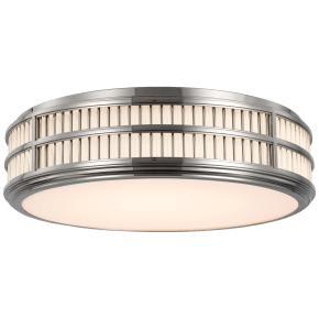 """Perren 24"""" Flush Mount in Polished Nickel and Glass Rods"""