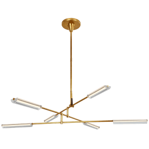 Daley Large Six Light Chandelier in Natural Brass with Clear Acrylic
