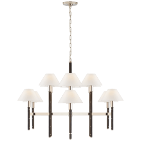 Radford Large Two Tier Chandelier in Polished Nickel and Black Ebony with Linen Shades