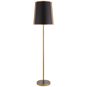 Hastings Large Floor Lamp in Hand-Rubbed Antique Brass with Black Shade