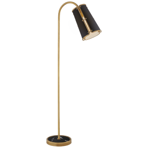 Hastings Medium Floor Lamp in Hand-Rubbed Antique Brass with Black Shade