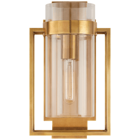 Presidio Caged Small Sconce in Hand-Rubbed Antique Brass with Clear Glass