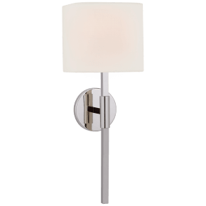 Auray Medium Tail Sconce in Polished Nickel with Linen Shade