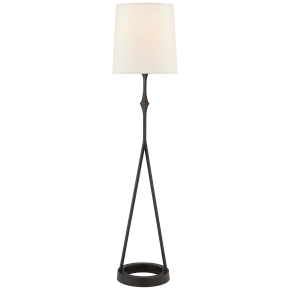 Dauphine Buffet Lamp in Aged Iron with Linen Shade