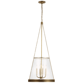 """Reese 20"""" Pendant in Soft Brass with Clear Restoration Glass"""