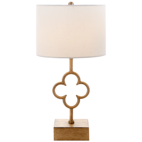 Quatrefoil Accent Lamp in Gilded Iron with Linen Shade