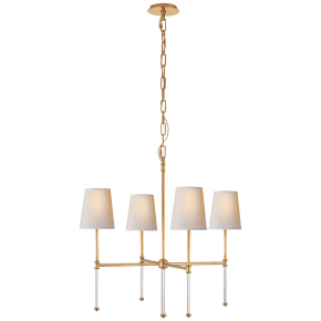 Camille Small Chandelier in Hand-Rubbed Antique Brass with Natural Paper Shades