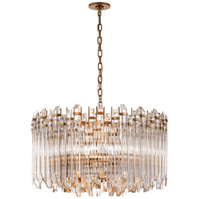 Adele Large Wide Drum Chandelier in Hand-Rubbed Antique Brass with Clear Acrylic