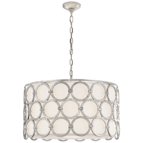 Alexandra Medium Hanging Shade in Burnished Silver Leaf with Linen Shade