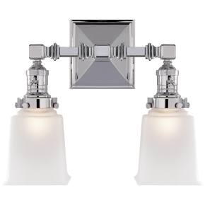 Boston Square Double Light in Chrome with Frosted Glass