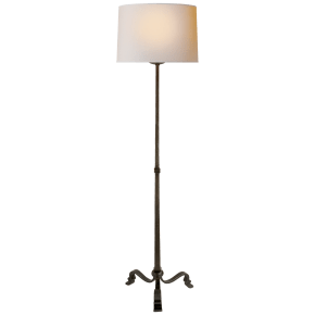 Wells Floor Lamp in Aged Iron with Natural Paper Shade