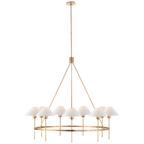 Hackney Large Chandelier in Hand-Rubbed Antique Brass with Natural Paper Shades