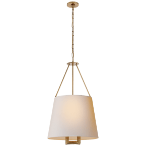 Dalston Hanging Shade in Hand-Rubbed Antique Brass with Natural Paper Shade