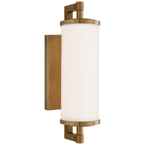 """Landis 13"""" Bath Light in Hand-Rubbed Antique Brass with White Glass"""
