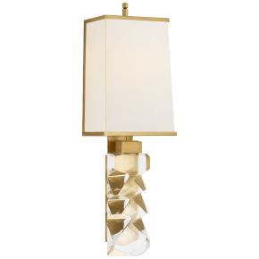 Argentino Large Sconce in Crystal and Hand-Rubbed Antique Brass with Linen Shade with Brass Trimmed Shade