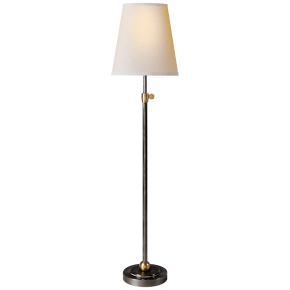 Bryant Table Lamp in Bronze and Hand-Rubbed Antique Brass with Natural Paper Shade