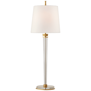 Lyra Buffet Lamp in Hand-Rubbed Antique Brass and Crystal with Linen Shade