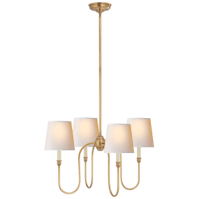 Vendome Small Chandelier in Hand-Rubbed Antique Brass with Natural Paper Shades