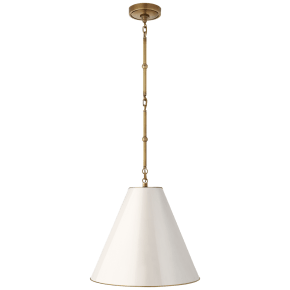 Goodman Small Hanging Light in Hand-Rubbed Antique Brass with Antique White Shade