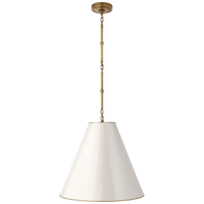 Goodman Medium Hanging Light in Hand-Rubbed Antique Brass with Antique White Shade