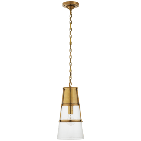Robinson Medium Pendant in Hand-Rubbed Antique Brass with Clear Glass