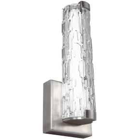 """Cutler 13"""" LED Sconce Satin Nickel Bulbs Inc Clear Staggered Rock Glass"""