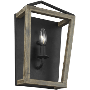 Gannet Sconce Weathered Oak Wood / Antique Forged Iron