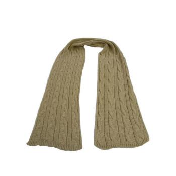 Cachecol Unissex Liso - Lã - Bege - tricot