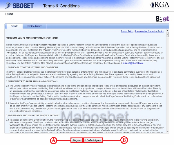 Sbobet Agreement Page