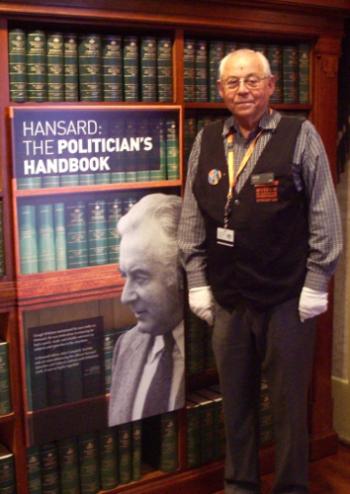 Volunteer guide John Campbell.  Museum of Australian Democracy, 2012