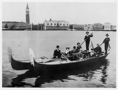 Edmund Barton and party in a gondola in Venice, 14 June 1902
