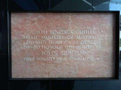 Foundation stone for the John Curtin School of Medical Research at the Australian National University, laid by Prime Minister Ben Chifley in 1949.