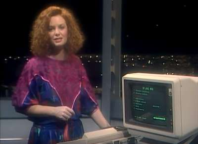 Five minutes of fame on Beyond 2000 with presenter Carmel Travers. Seven Network.