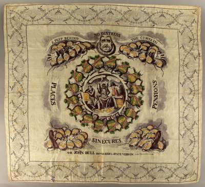 This printed scarf or handkerchief from around 1830 highlights the corruption inherent to the British political system at the time. The two parties, Whigs and Tories, both benefited from the status quo and it took many decades to evolve into a fairer, more liberal democracy.