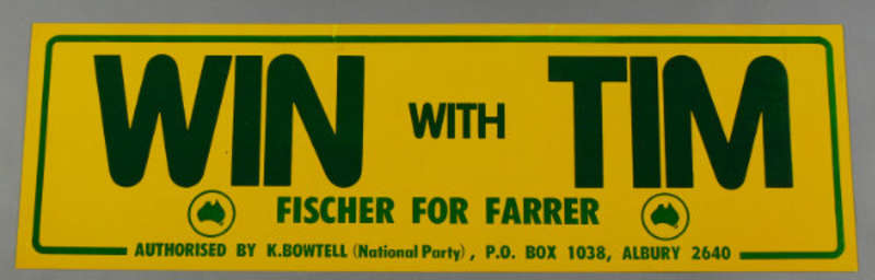 'Win with Tim' car magnet