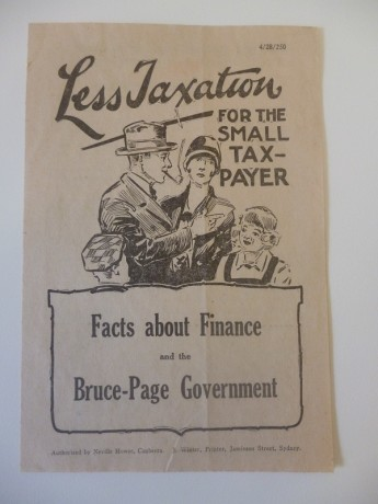Pamphlet advocating lower taxes from the Bruce-Page government federal election campaign, 1929. Museum of Australian Democracy Collection.