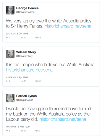 "Interjections including the phrase ""White Australia"" reimagined as tweets. Image: Tim Sherratt"