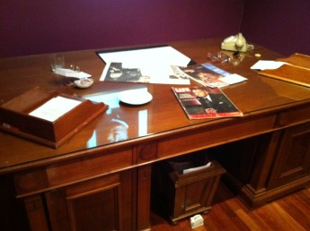 The desk in-situ in the Prime Ministers of Australia exhibition.