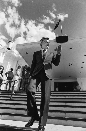A buoyant Prime Minister-elect Bob Hawke acknowledges well-wishers on the steps of Parliament House on 7 March 1983.